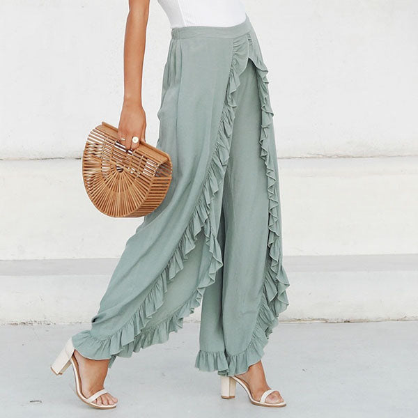 Solid Color Front Split Pants