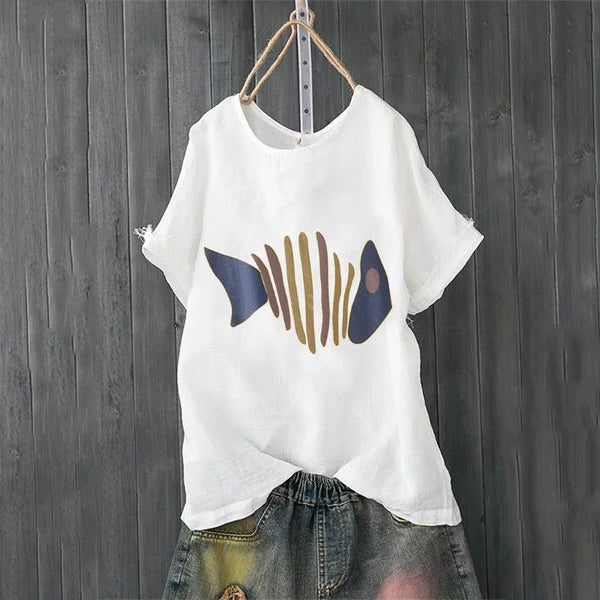 Plus Size Fish Printed Solid Color Blouse