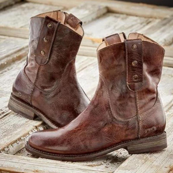 Casual Vintage Boots With Side Zipper