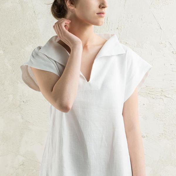 Simple Solid Color V Neck Daily Blouse