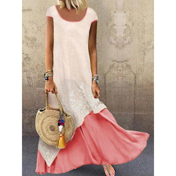 Color-block Crew Neck Vacation Summer Dresses