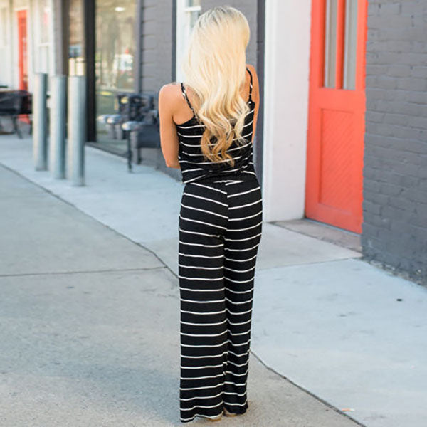Casual Loose Stripe Sleeveless Jumpsuits