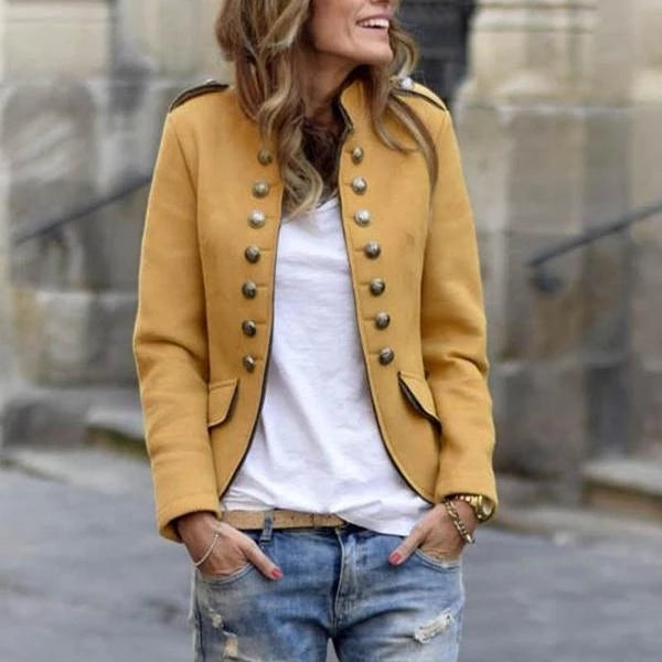 Casual Pure Color Buttons Long Sleeve Coat