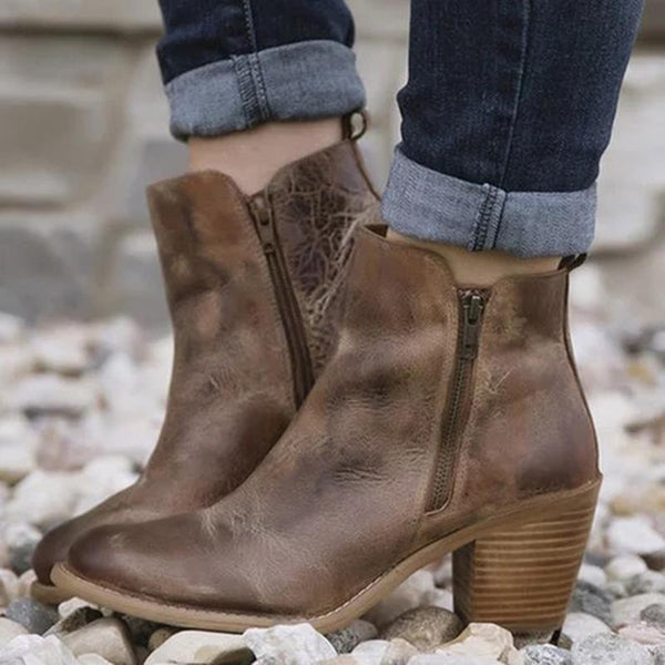 Chunky Heel Casual Zipper Boots