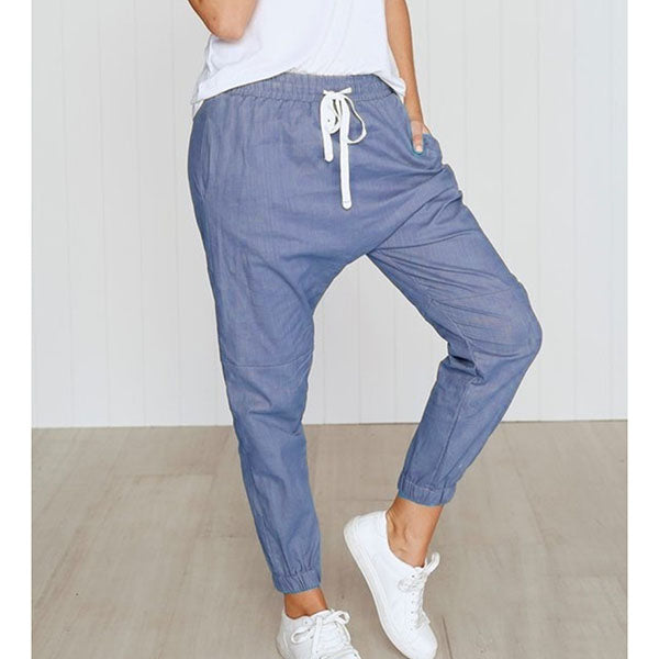 Women Elastic Band Pockets Daily Pants