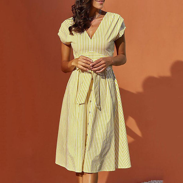 Striped V-neck Short Sleeve Belt Dress