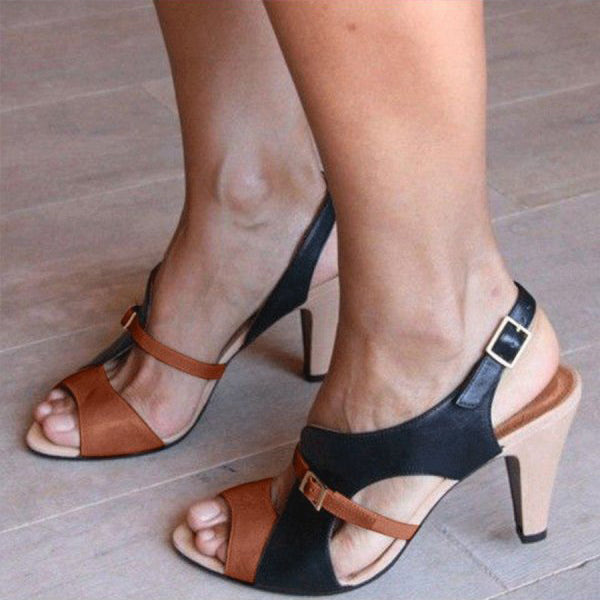 Chunky Middle Heeled Peep Toe Date Vacation Sandals