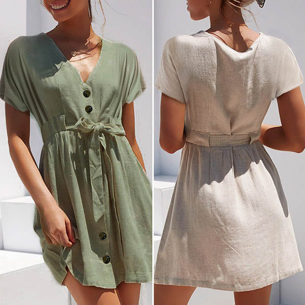 Daily Bowknot Lace-Up Dress