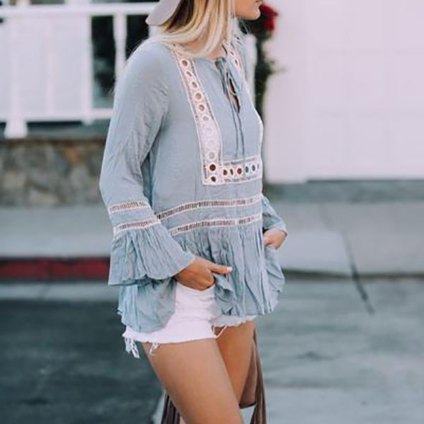 V Neck Lace-Up Bohemian Printed Blouse