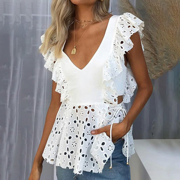 Hollow V Neck Lace-Up Short Sleeve Blouse