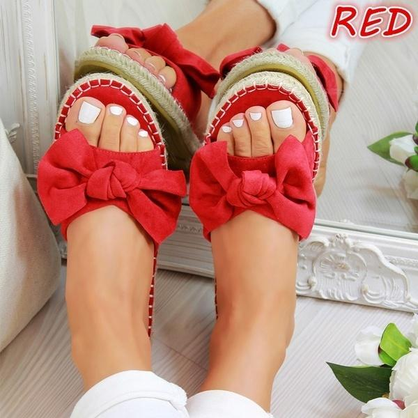 Summer Women's Solid Color Beach Bow Decoration Sandals