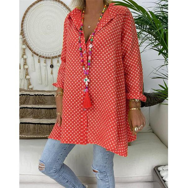 Spring/Summer Polka Dot Cotton Printed Plus Size Shirt
