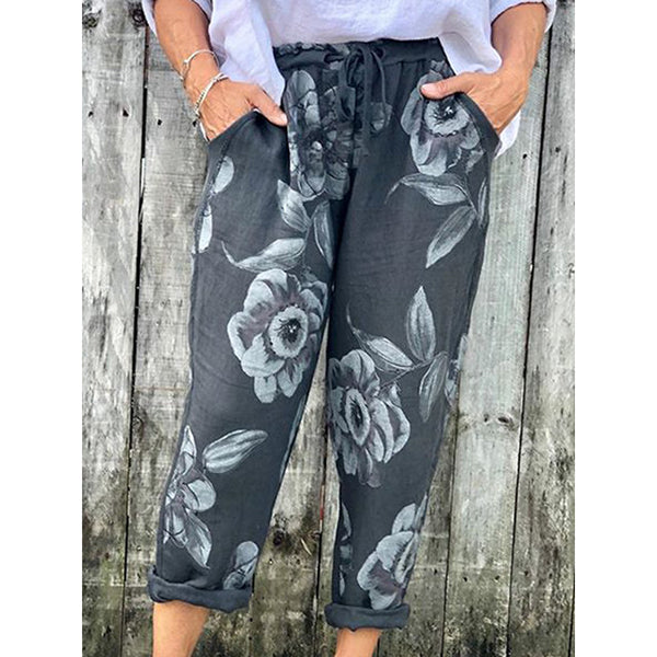 Casual Floral Printed Summer Holiday Plus Size Pants