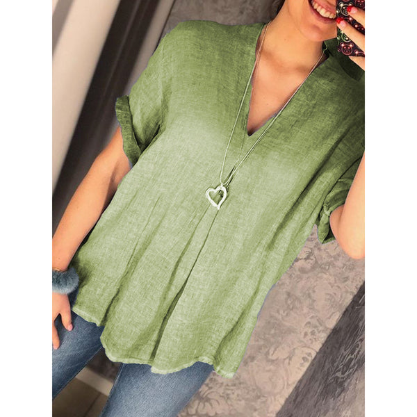 Women V-Neck Solid Color Tunic Blouses