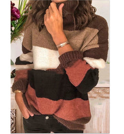 Women's Elegant High Neck Striped Sweaters