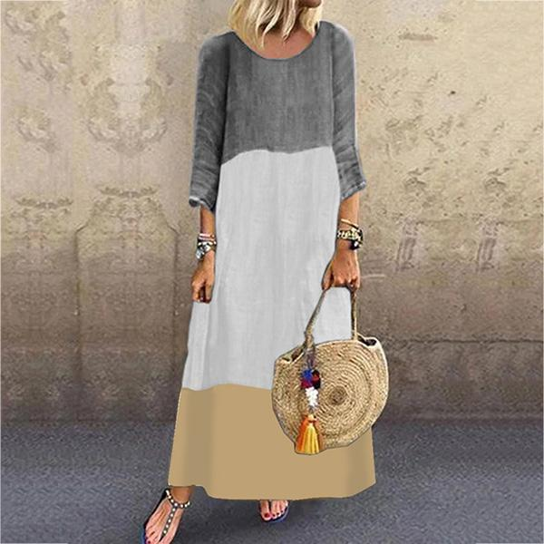 Casual Half Sleeve MultiColor Spliced Dress