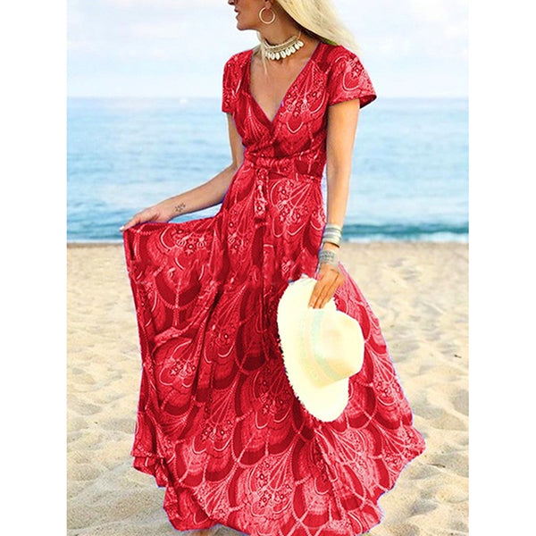 Boho V-Neck Short Sleeve Floral Printed Maxi Dresses