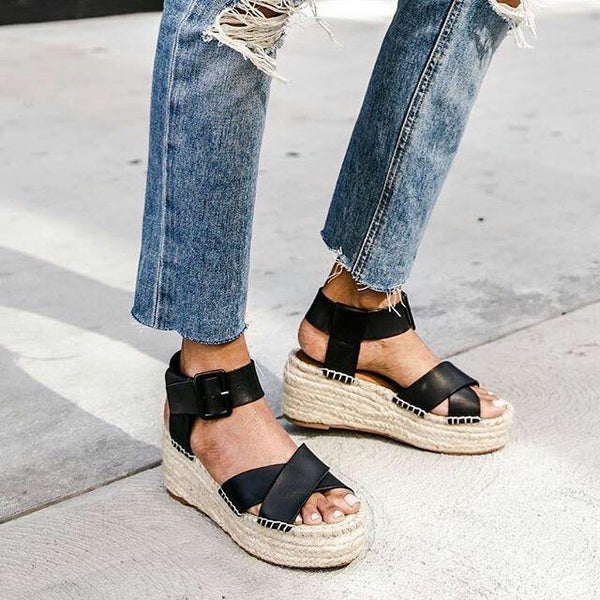 Espadrille Adjustable Buckle Wedge Sandals