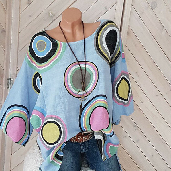 Casual Dot Printed Loose Blouse