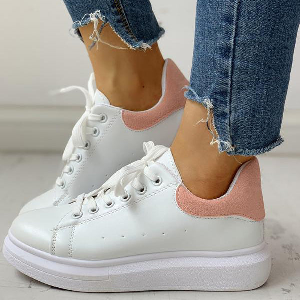Ladies Lace-Up Muffin Casual Sneakers