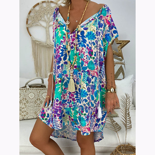 Summer V-neck Tassel Print Dress