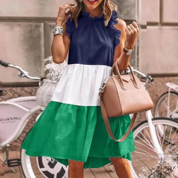 Women Summer Fashion Casual Round-neck Sleeveless Color Block Mini Skirt