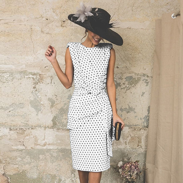 Fashion Round Neck Ruched Polka Dot Bodycon Dress