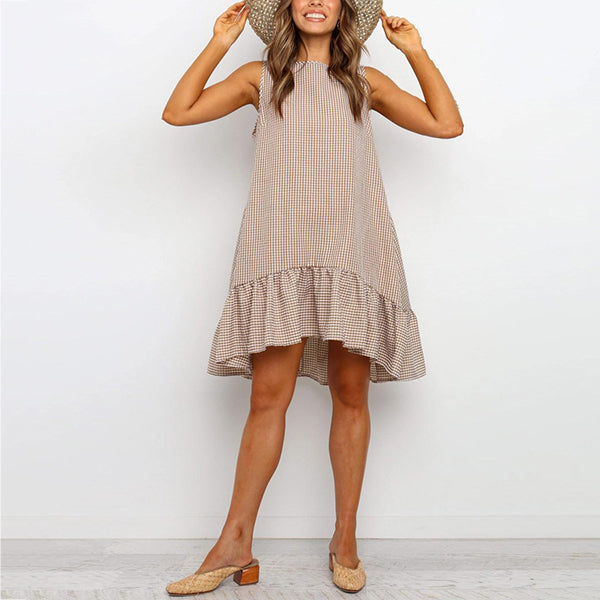 Casual Sleeveless Plaid Women Dress