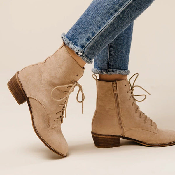 Women Lace-Up Zipper Elegant Boots