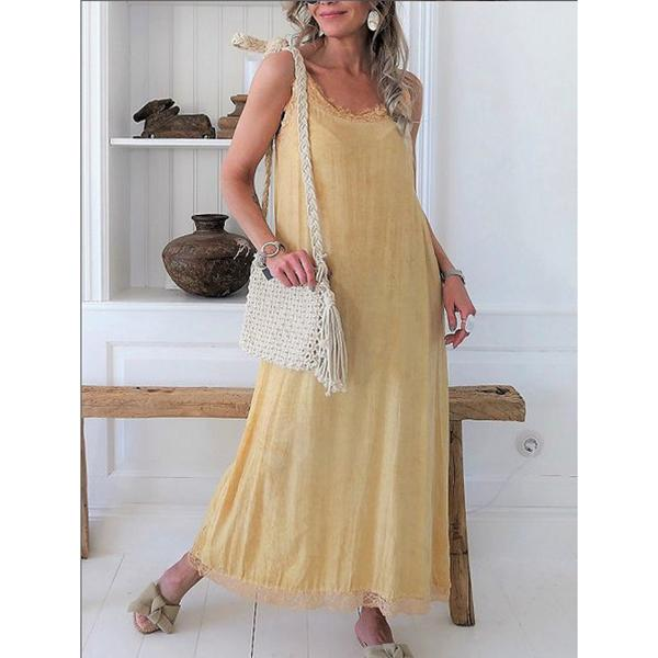 Casual Lace Strap Solid Color Dress