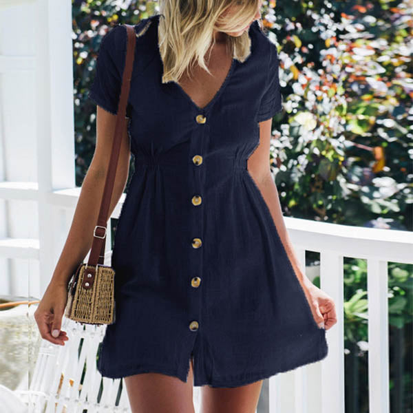 V Neck Button Solid Color Dress