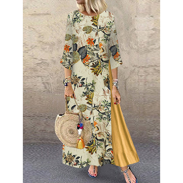Vintage Floral Print Patchwork 3/4 Sleeve Loose Dress