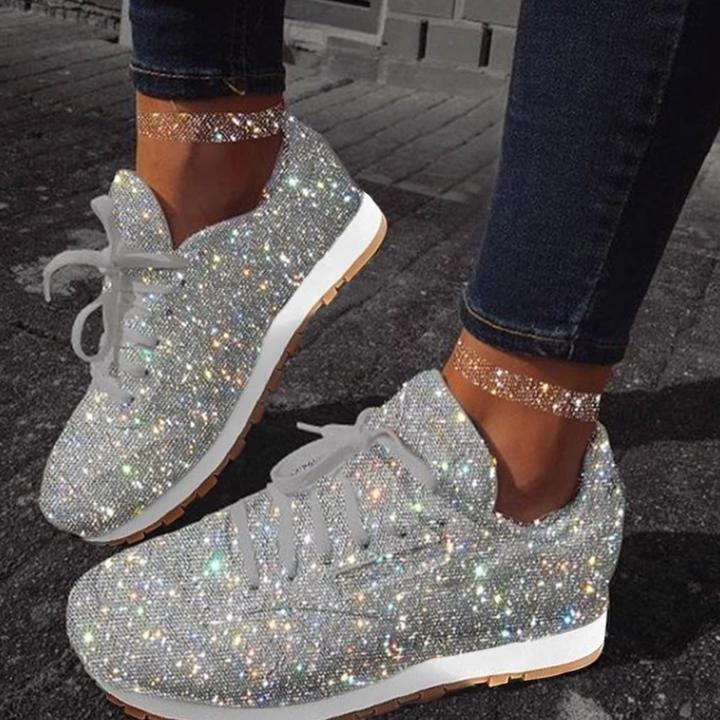 Women Sparkle White Sneakers Shoes