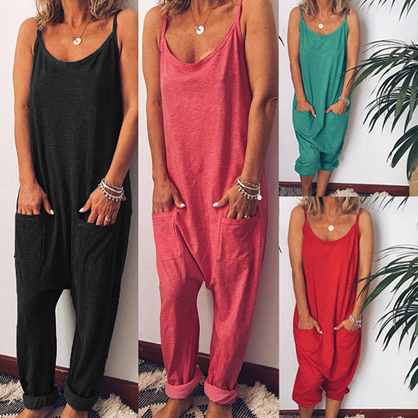 Summer Fashion Solid Color Women Jumpsuits