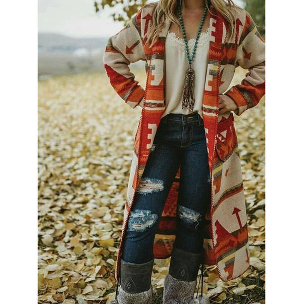 Printed Tribal Long Sleeve Outerwear