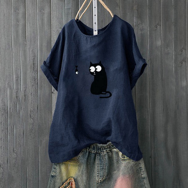 Daily Casual Lovely Cat Printed Blouse
