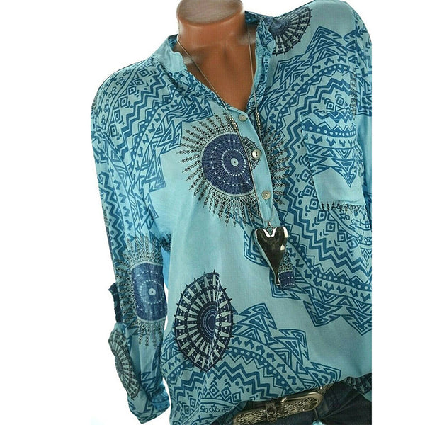 Women Printed Plus Size Fall Loose Blouses