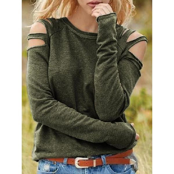 Sexy Off-the-shoulder Solid Color Long Sleeve Blouses