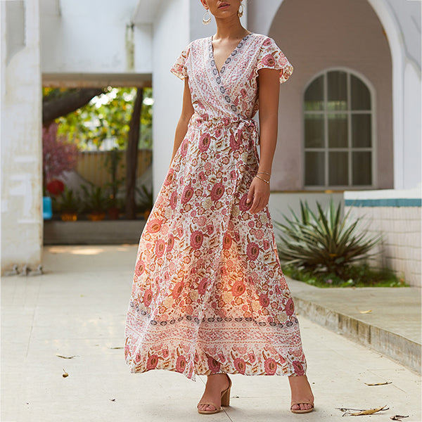 Holiday Printed Sexy Short Sleeve Women Dress