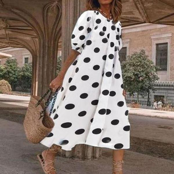 Women's Casual Loose Polka Dot Mid-Calf Dress