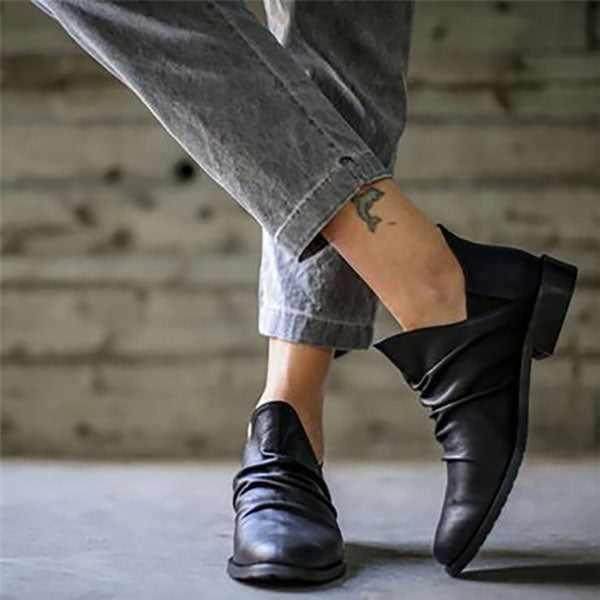 Women Slip-On Low Heel Casual Boots