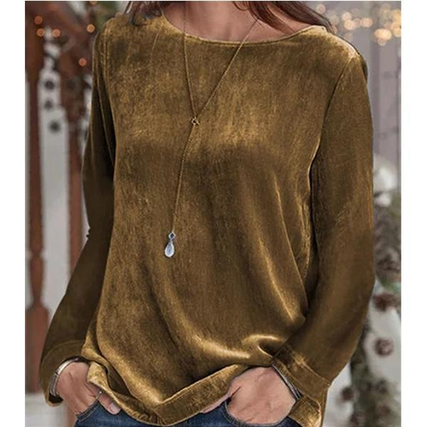 Women Solid Color Casual Round Neck Long Sleeve Autumn Blouse