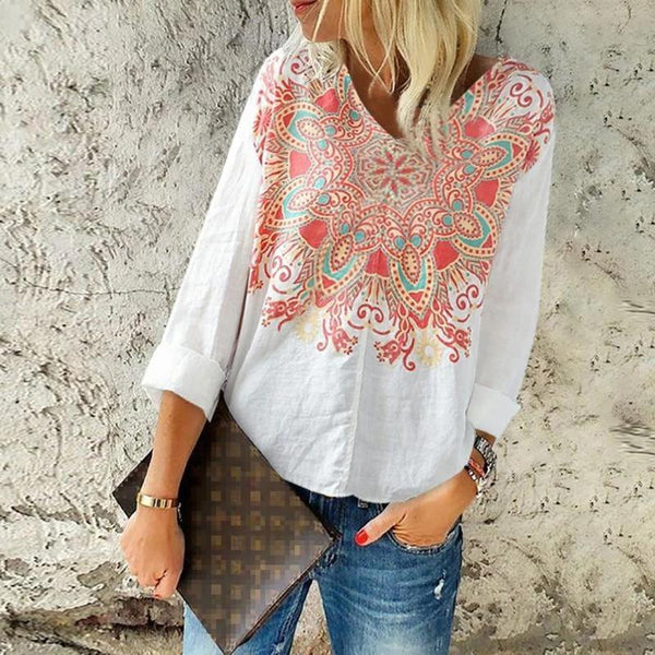 Casual Printed V Neck Loose Blouses