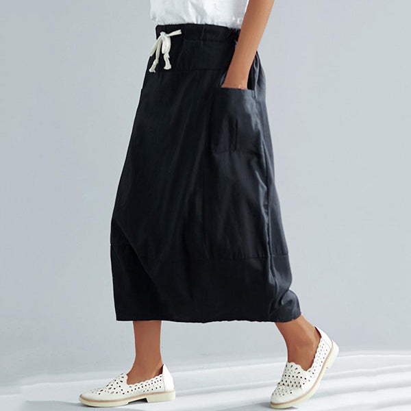 Elastic Waist Solid Color Skirts