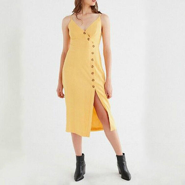 Sexy V Neck Button Front Split Dress