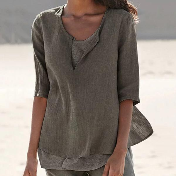 Casual Solid Color V Neck Women Blouse