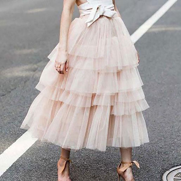 Casual Summer High Waist Solid Color Tulle Skirt Fashion Dress