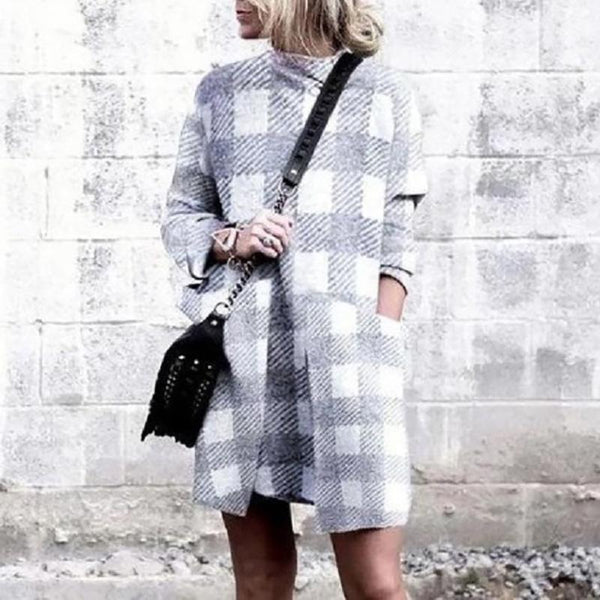 Autumn Plaid Long Sleeve Dress