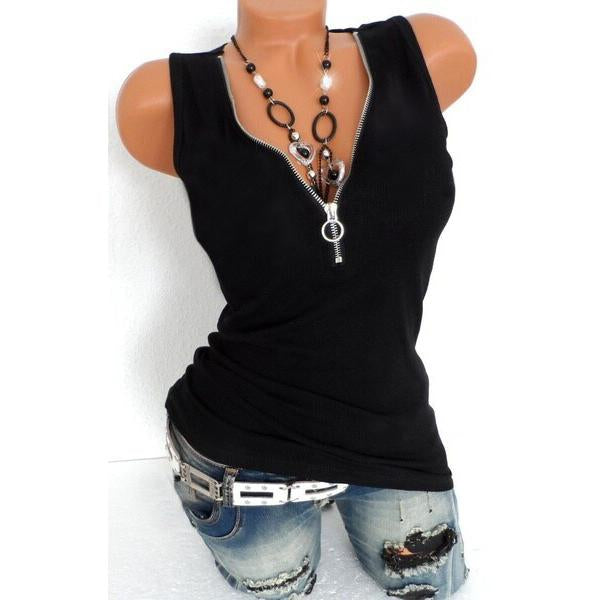 Women's Sleeveless Deep V-neck Zipper Tank Top