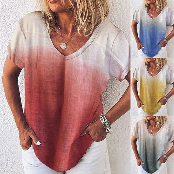 Summer V Neck Short Sleeve Gradient Women Tops